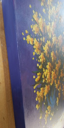 (CreativeWork) Wattle from the Ranges  by Joan Hancock. Acrylic Paint. Shop online at Bluethumb.