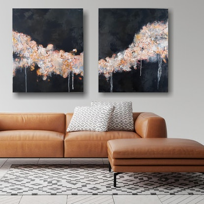 (CreativeWork) Ebb and Flow  - Diptych by Emily Lauro. Acrylic Paint. Shop online at Bluethumb.