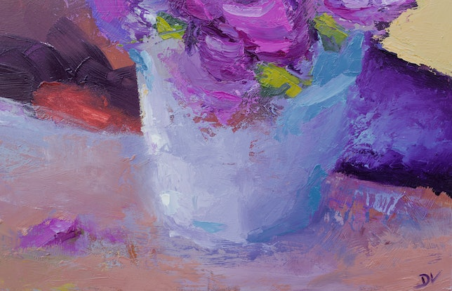 (CreativeWork) Summer Bouquet  Carnations 2 - Pink by Damien Venditti. Oil Paint. Shop online at Bluethumb.