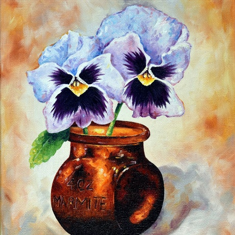 (CreativeWork) Fancy Pansy by Luna Vermeulen. Oil Paint. Shop online at Bluethumb.