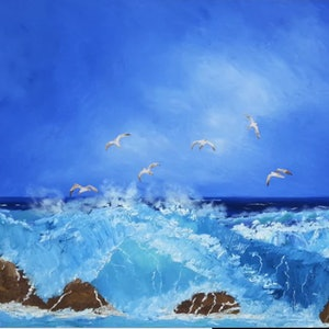 (CreativeWork) Wild Coast. by owen jones. oil-painting. Shop online at Bluethumb.