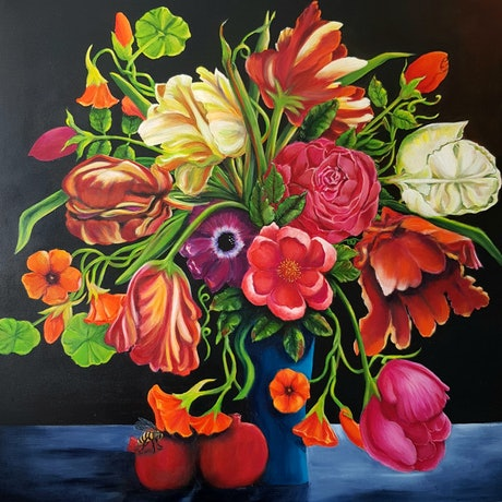 (CreativeWork) What A Riot Of Colour by Christine Hookham. Acrylic. Shop online at Bluethumb.