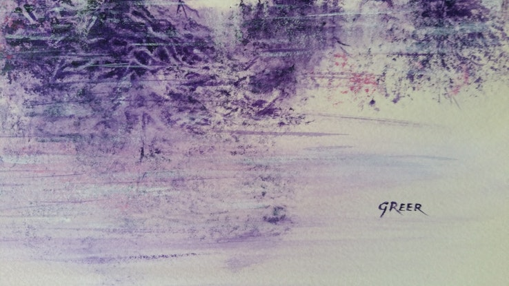 (CreativeWork) A purple wonderland.  Reflection series. by Greer Roberts. Mixed Media. Shop online at Bluethumb.