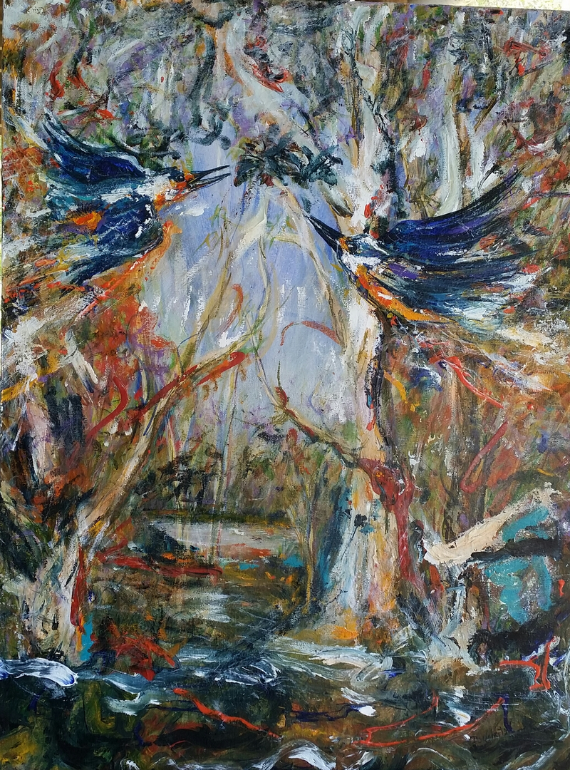 (CreativeWork) kingfishers in nature by Debra Dougherty. Acrylic Paint. Shop online at Bluethumb.