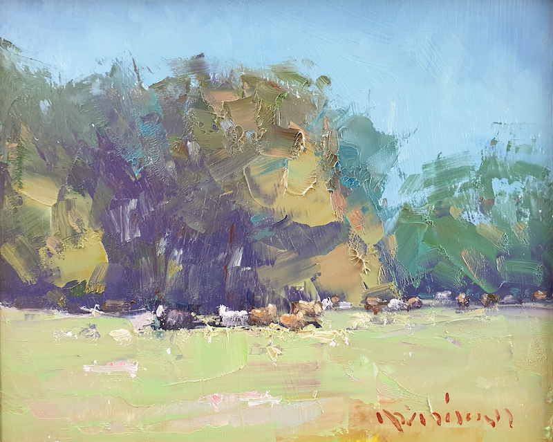 (CreativeWork) Landscape with resting cows by Minhan Cho. Oil Paint. Shop online at Bluethumb.