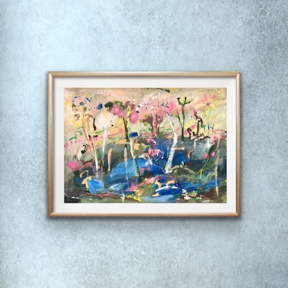 (CreativeWork) Bush River Gathering by Jane Thompson. Other Media. Shop online at Bluethumb.