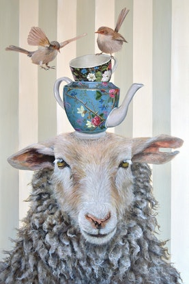 (CreativeWork) Tea with Ewe by Rebecca Hill. Acrylic Paint. Shop online at Bluethumb.
