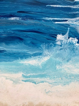 """(CreativeWork) """"Summertime"""" Beach art painting diptych by Debra Ryan. Mixed Media. Shop online at Bluethumb."""