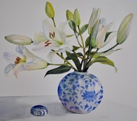 (CreativeWork) Oriental Lillies 2 by Carol Croad. Watercolour Paint. Shop online at Bluethumb.
