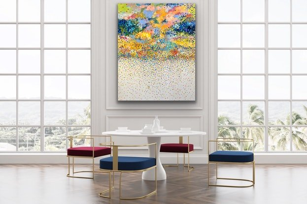 (CreativeWork) Clouds  of Petals   by Theo Papathomas. Acrylic Paint. Shop online at Bluethumb.