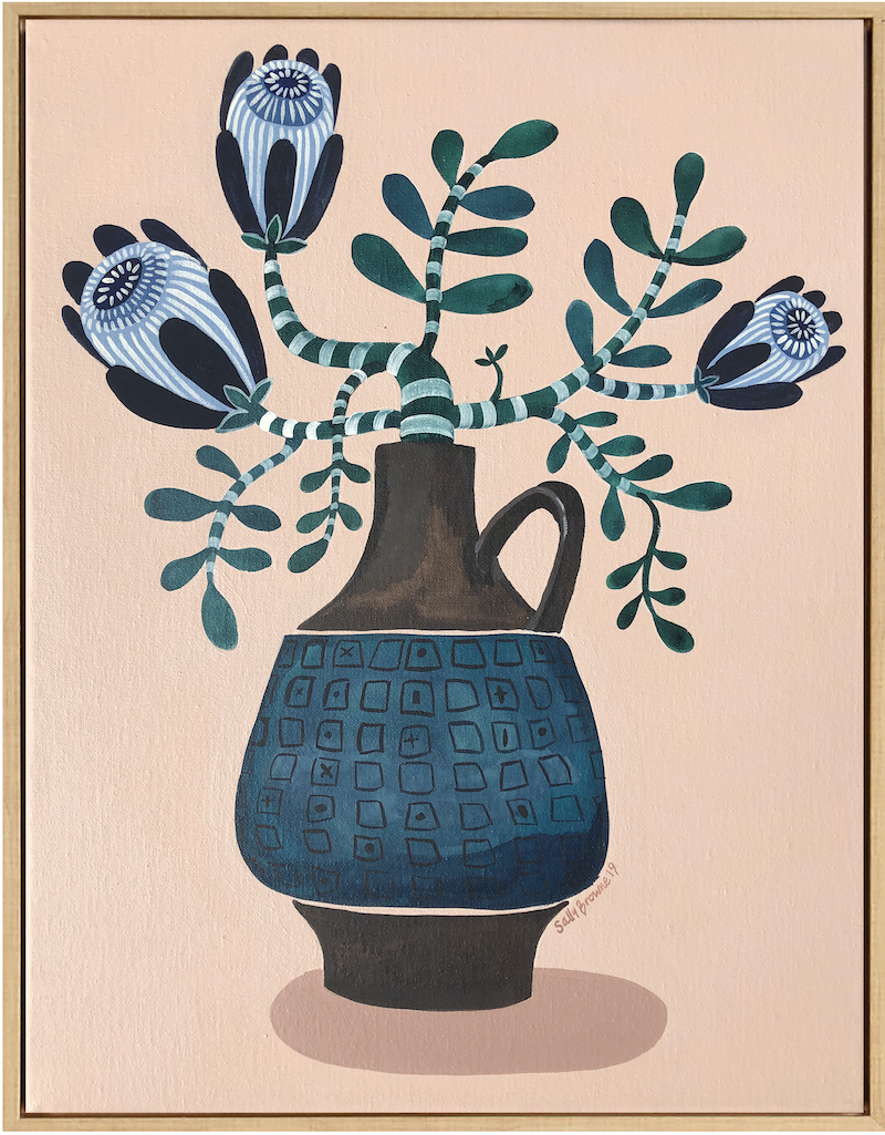 (CreativeWork) Blue Proteas In West German Vase by Sally Browne. Acrylic Paint. Shop online at Bluethumb.