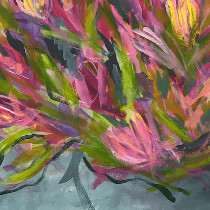 "(CreativeWork) Protea ""Pink Ice"" by Kylie Dwyer. Acrylic Paint. Shop online at Bluethumb."