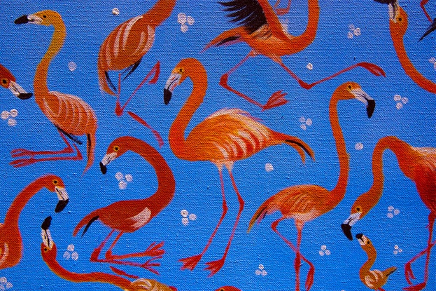(CreativeWork) Dance with flamingos by Kevin Curpen. Acrylic Paint. Shop online at Bluethumb.