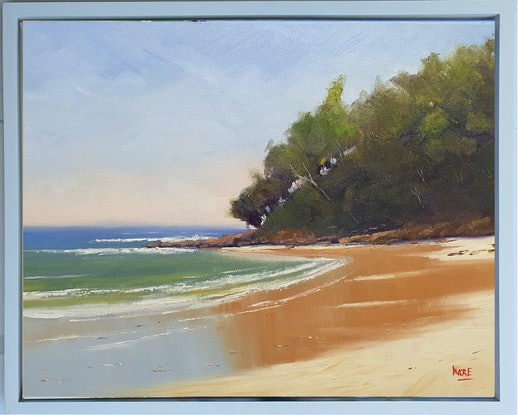 (CreativeWork) Noosa First Point Low Tide by Rod Moore. Oil Paint. Shop online at Bluethumb.