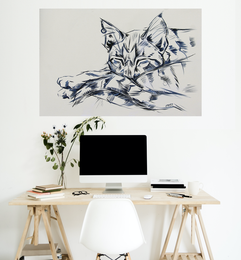(CreativeWork) Berty - Large Cat Painting by Eve Izzett. Acrylic Paint. Shop online at Bluethumb.