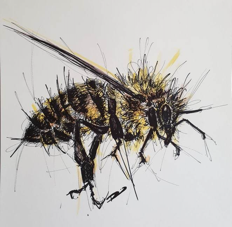 (CreativeWork) Bee Adventurous by Renee Mitchell. Mixed Media. Shop online at Bluethumb.