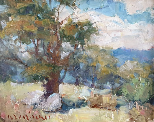 (CreativeWork) Landscape with gumtrees by Minhan Cho. Oil Paint. Shop online at Bluethumb.