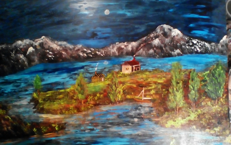 (CreativeWork) Alpine Huts by Robin Sweeney. Acrylic Paint. Shop online at Bluethumb.