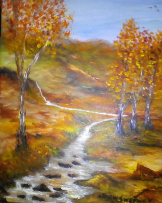 (CreativeWork) Autumn Springs by Robin Sweeney. Acrylic Paint. Shop online at Bluethumb.
