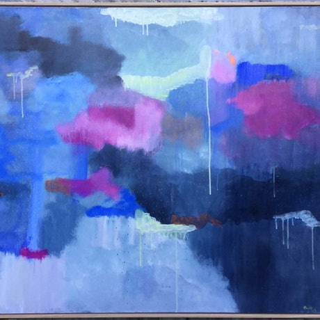 "(CreativeWork) SALE "" Velvety Fairy Floss Clouds"" by Eleni Kokkinos. Acrylic Paint. Shop online at Bluethumb."