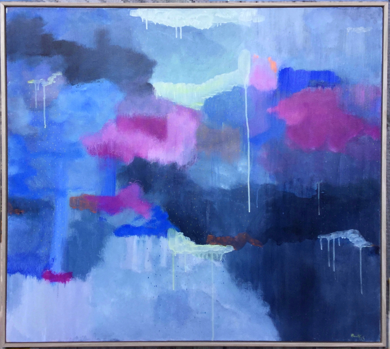 """(CreativeWork) SALE """" Velvety Fairy Floss Clouds"""" by Eleni Kokkinos. Acrylic Paint. Shop online at Bluethumb."""