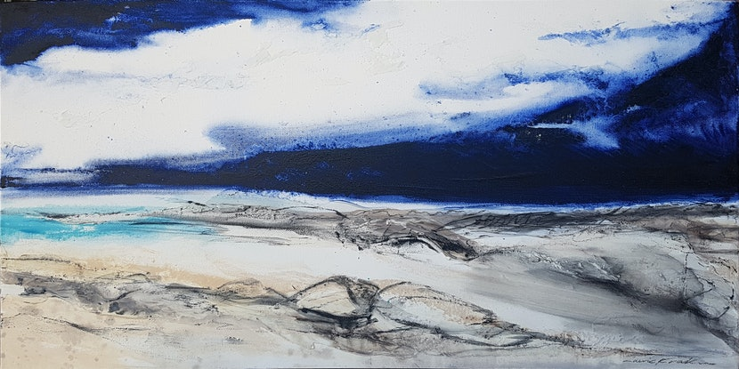 (CreativeWork) Beach Lagoon by Laurie Franklin. Oil Paint. Shop online at Bluethumb.