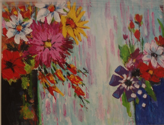(CreativeWork) Two vases of spring flowers by Judith James. Acrylic Paint. Shop online at Bluethumb.