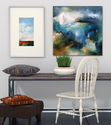 (CreativeWork) Above and Below (storm on the reef) by Joanne Duffy. Oil Paint. Shop online at Bluethumb.
