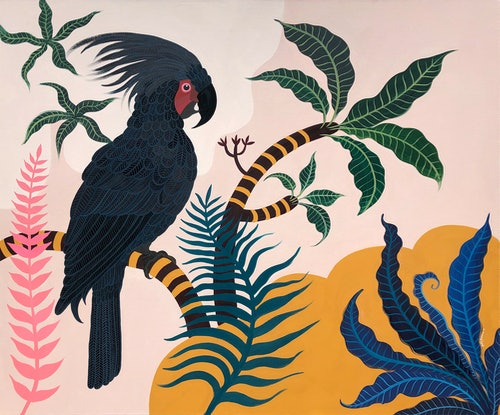 (CreativeWork) Palm Cockatoo Garden by Sally Browne. Acrylic Paint. Shop online at Bluethumb.