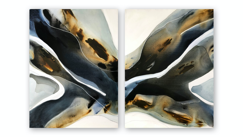 (CreativeWork) Aperio Diptych by Dinah Wakefield. Acrylic Paint. Shop online at Bluethumb.