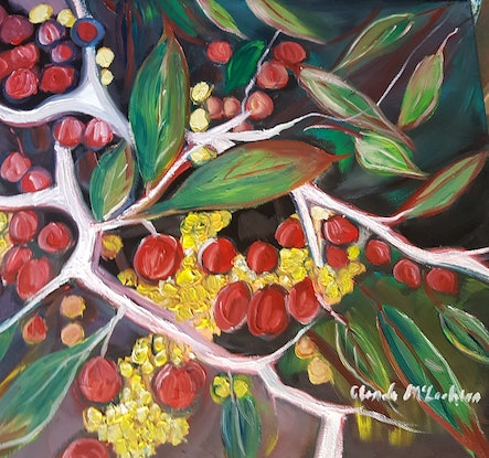 """(CreativeWork) """"Trophis scandens """" by Glenda McLachlan. Oil Paint. Shop online at Bluethumb."""
