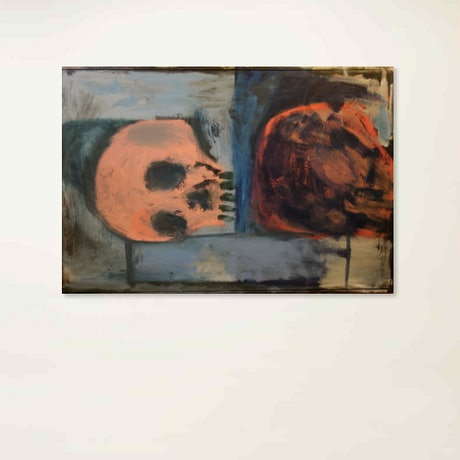 (CreativeWork) Skulls by Matt Simmo. Oil Paint. Shop online at Bluethumb.