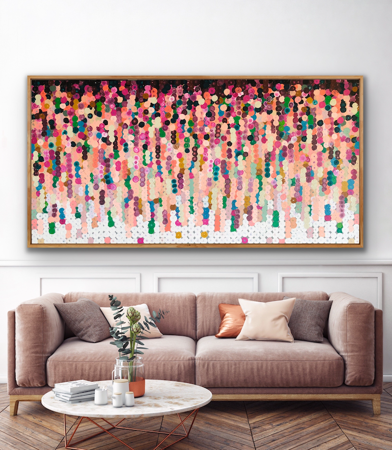 (CreativeWork) On sale Prachtig 184x93 framed large abstract by Sophie Lawrence. Acrylic Paint. Shop online at Bluethumb.