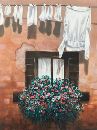 (CreativeWork) Hanging Out in Italy by Kathryn Johnston. Acrylic Paint. Shop online at Bluethumb.