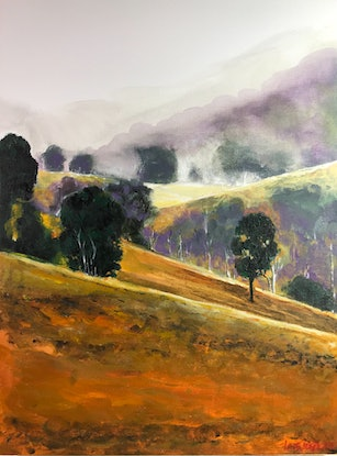 (CreativeWork) Hills in Autumn by LOUISE GROVE WIECHERS. Acrylic Paint. Shop online at Bluethumb.