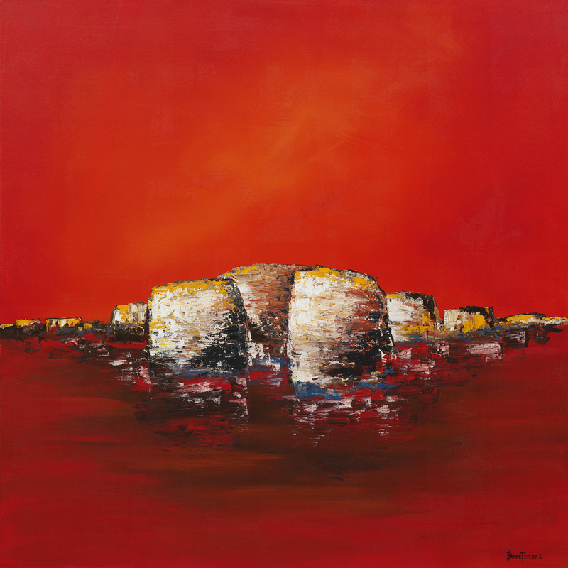 (CreativeWork) 'Red Sky' by Bruce Peebles. Acrylic Paint. Shop online at Bluethumb.