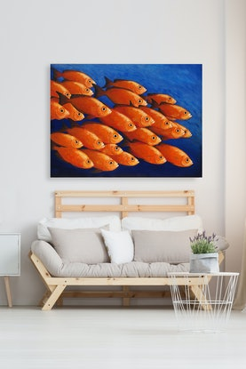 (CreativeWork) 'Schooling' by Bruce Peebles. Acrylic Paint. Shop online at Bluethumb.