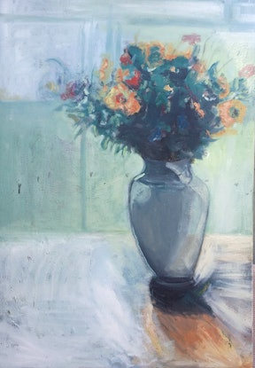 (CreativeWork) Flowers on Teal Bacground by Rosie Dorsett. Oil Paint. Shop online at Bluethumb.