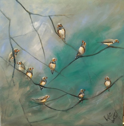 (CreativeWork) Zebra finches by Kylie van Tol. Acrylic Paint. Shop online at Bluethumb.