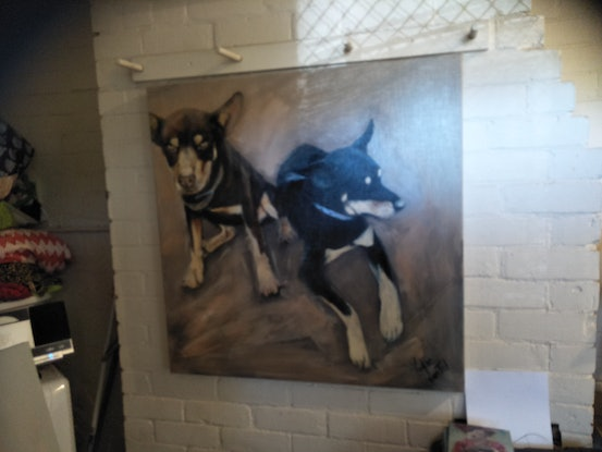 (CreativeWork) Working dogs by Kylie van Tol. Acrylic Paint. Shop online at Bluethumb.