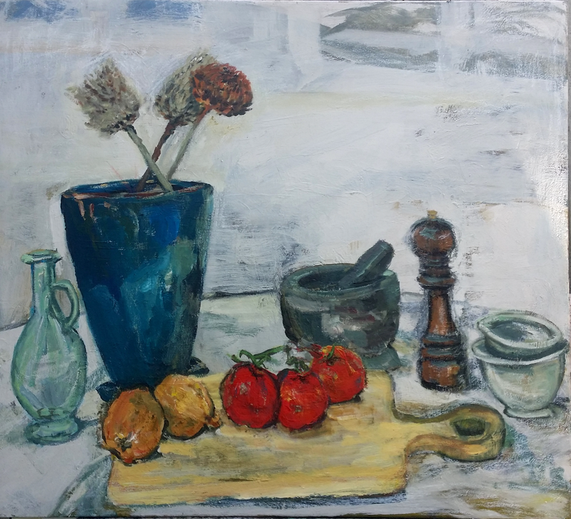 (CreativeWork) In the Kitchen by Rosie Dorsett. Oil Paint. Shop online at Bluethumb.