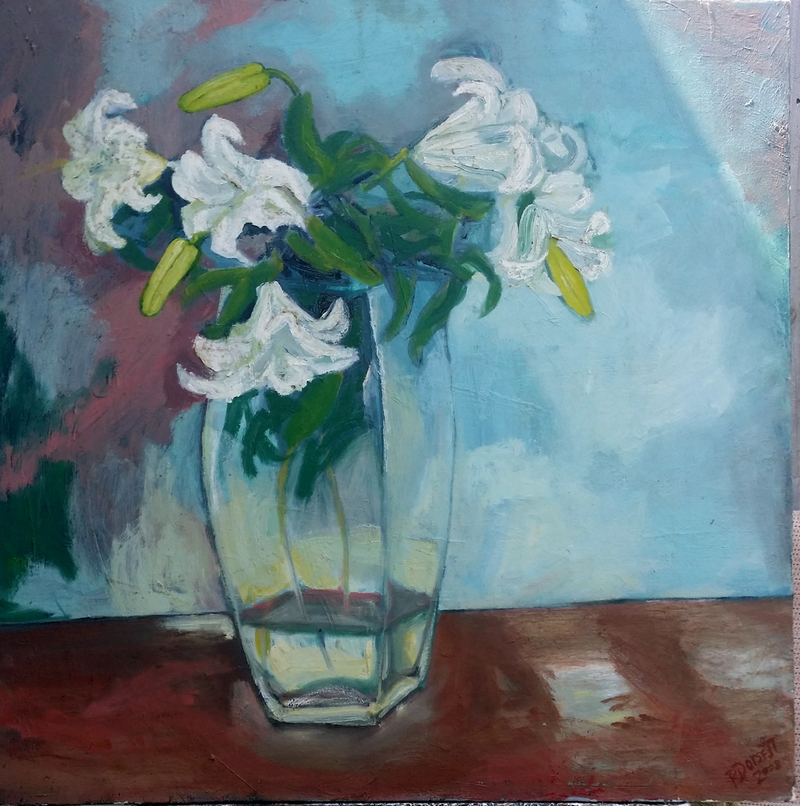 (CreativeWork) Lillies by Rosie Dorsett. Oil Paint. Shop online at Bluethumb.