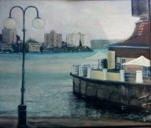 (CreativeWork) The Esplanade Manly by Rosie Dorsett. Oil Paint. Shop online at Bluethumb.