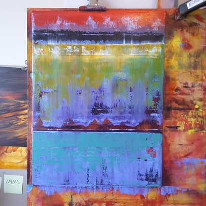 (CreativeWork) Blurred Horizons 6 by Scott Maxwell. Oil Paint. Shop online at Bluethumb.