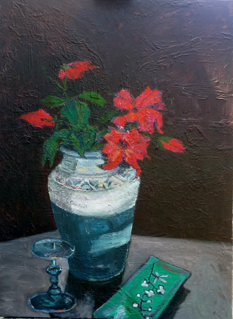 (CreativeWork) Deep Red Wild Flowers by Rosie Dorsett. Oil Paint. Shop online at Bluethumb.