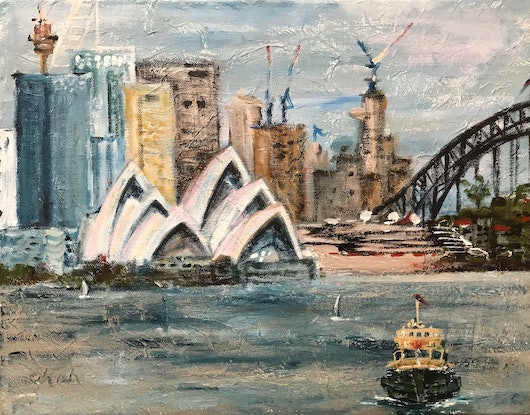 (CreativeWork)  Cremorne ferry  by Galina Nistor. Acrylic Paint. Shop online at Bluethumb.