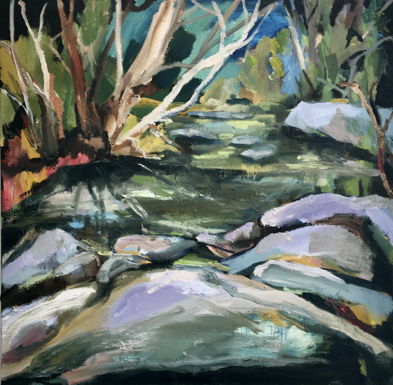 (CreativeWork) Flat Rock by Nicole Foxall. Oil Paint. Shop online at Bluethumb.