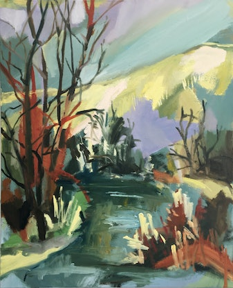 (CreativeWork) River in Winter by Nicole Foxall. Oil Paint. Shop online at Bluethumb.