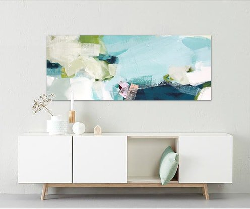 (CreativeWork) Spree - long, large, green, blue pink abstract  by Stephanie Laine. Acrylic Paint. Shop online at Bluethumb.