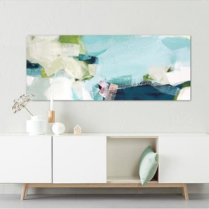 (CreativeWork) Spree - long, large, green, blue pink abstract  by Stephanie Laine. acrylic-painting. Shop online at Bluethumb.